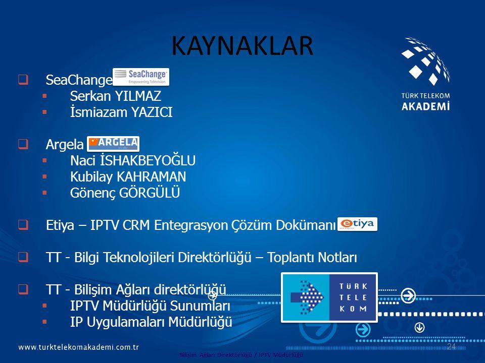  SeaChange  Serkan YILMAZ  İsmiazam YAZICI  Argela  Naci İSHAKBEYOĞLU  Kubilay KAHRAMAN  Gönenç GÖRGÜLÜ  Etiya – IPTV CRM Entegrasyon Çözüm Do