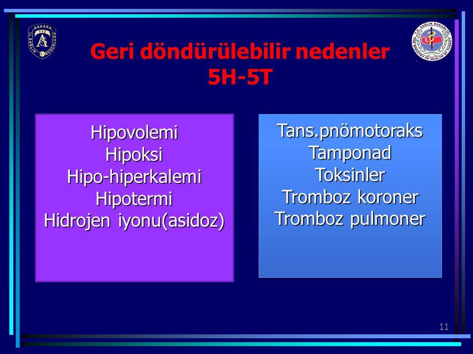 11 Geri döndürülebilir nedenler 5H-5T HipovolemiHipoksiHipo-hiperkalemiHipotermi Hidrojen iyonu(asidoz) Tans.pnömotoraksTamponadToksinler Tromboz koro
