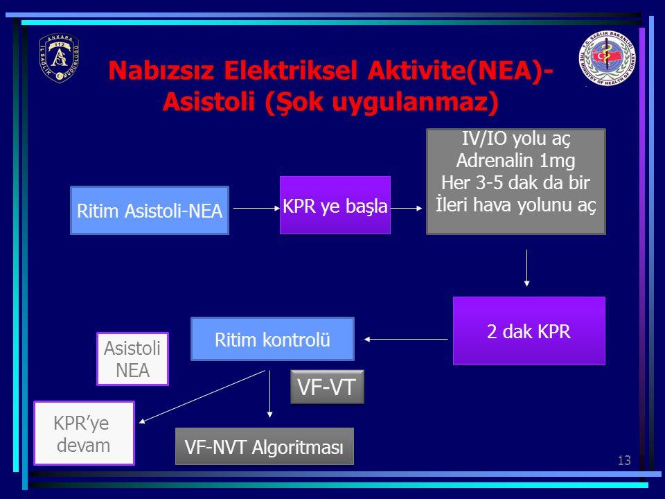 13 Nabızsız Elektriksel Aktivite(NEA)- Asistoli (Şok uygulanmaz) Ritim Asistoli-NEA KPR ye başla IV/IO yolu aç Adrenalin 1mg Her 3-5 dak da bir İleri