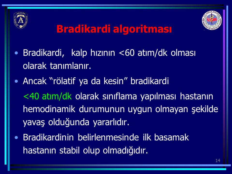 """14 Bradikardi algoritması Bradikardi, kalp hızının <60 atım/dk olması olarak tanımlanır. Ancak """"rölatif ya da kesin"""" bradikardi <40 atım/dk olarak sın"""