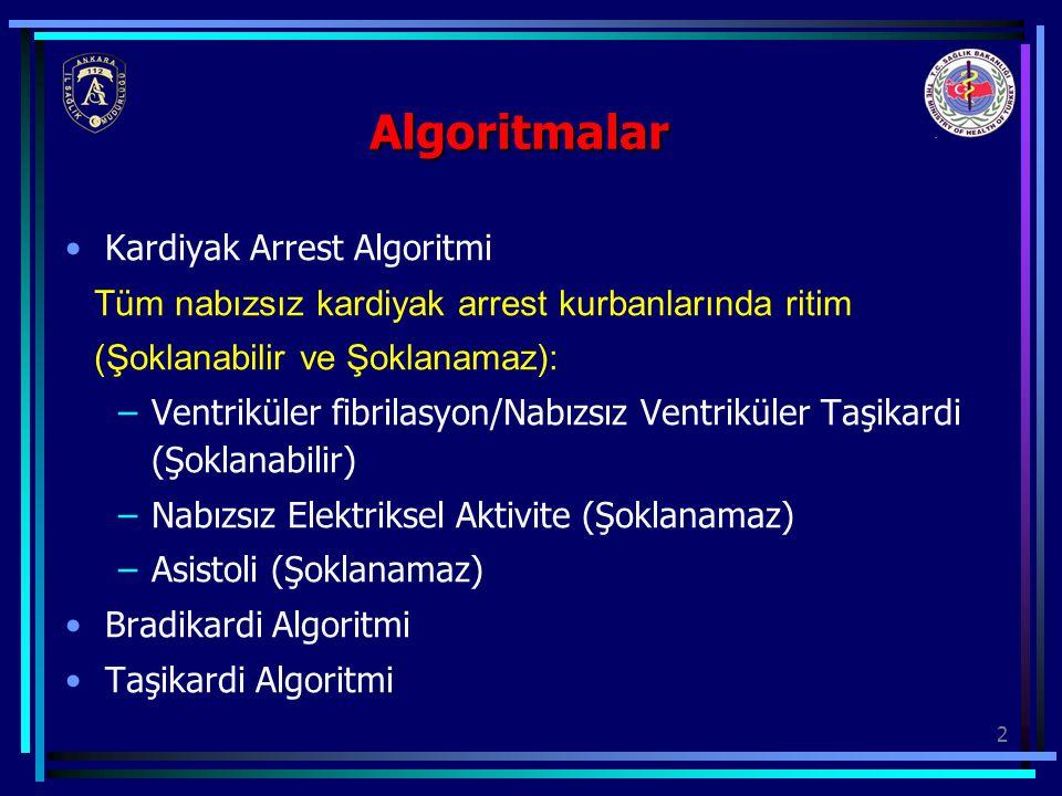 3 Nabızsız Arrest TYD Algoritması: Yardım çağır KPR başla O2 ver Monitöre veya defibrilatöre bağla Ritim kontrolüRitim kontrolü