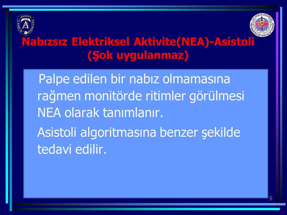 9 Nabızsız Elektriksel Aktivite(NEA)-Asistoli (Şok uygulanmaz) Palpe edilen bir nabız olmamasına rağmen monitörde ritimler görülmesi NEA olarak tanıml