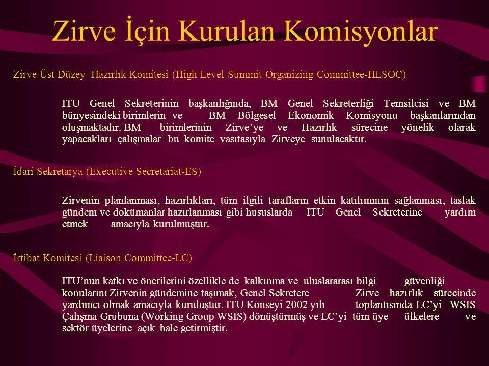 Zirve İçin Kurulan Komisyonlar Zirve Üst Düzey Hazırlık Komitesi (High Level Summit Organizing Committee-HLSOC) ITU Genel Sekreterinin başkanlığında,