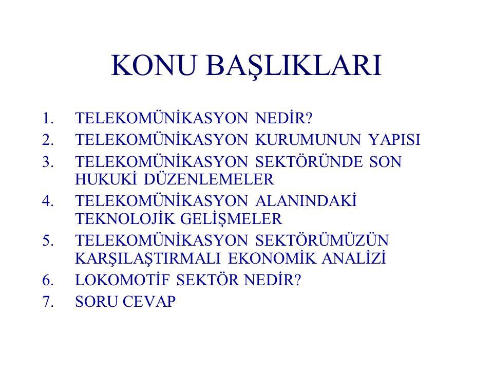Türkiye 'de Tekelin Kaldırılmasının Etkileri (2) Muhtemel Pozitif Etkileri (1) Teknolojik gelişme; Teknolojik gelişme; Ücretlerin düşmesi, Ücretlerin düşmesi, Tüketiciye yeni, kaliteli, istediği içerikte hizmetlerin sunulmasını Tüketiciye yeni, kaliteli, istediği içerikte hizmetlerin sunulmasını Mevcut ağların en iyi ve verimli biçimde kullanılması ile birlikte, kullanıcıların beklentilerinin daha kolay karşılanabilmesi, Mevcut ağların en iyi ve verimli biçimde kullanılması ile birlikte, kullanıcıların beklentilerinin daha kolay karşılanabilmesi, Profesyonel pazarlama politikaları çerçevesinde sunulan hizmetlerin tanıtımı ile yeni teknolojilerin kullanımının özendirilmesi Profesyonel pazarlama politikaları çerçevesinde sunulan hizmetlerin tanıtımı ile yeni teknolojilerin kullanımının özendirilmesi Ülkemizdeki telekomünikasyon pazarının büyümesi, yatırımların artması, ekonomik büyümeye ve istihdama katkı sağlayacak yeni servislerin hizmete girebilmesi için dış finans kaynaklarından yararlanılması Ülkemizdeki telekomünikasyon pazarının büyümesi, yatırımların artması, ekonomik büyümeye ve istihdama katkı sağlayacak yeni servislerin hizmete girebilmesi için dış finans kaynaklarından yararlanılması Liberalleşme ile birlikte devletin yatırımcı kimliği biraz daha geri plana çekilecek, politika belirleyici, düzenleyici ve denetleyici rolleri artarak devam edecektir.