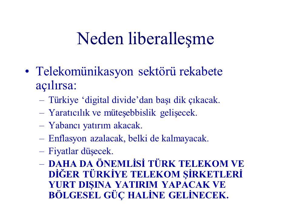 Neden liberalleşme Telekomünikasyon sektörü rekabete açılırsa: –Türkiye 'digital divide'dan başı dik çıkacak. –Yaratıcılık ve müteşebbislik gelişecek.