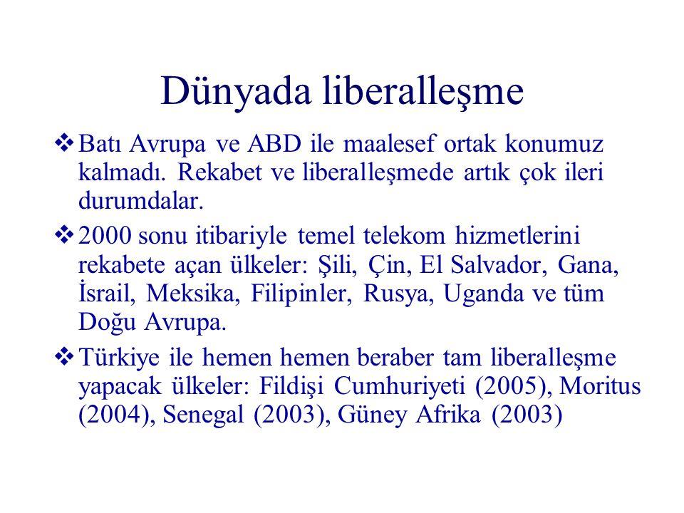 Dünyada liberalleşme  Batı Avrupa ve ABD ile maalesef ortak konumuz kalmadı. Rekabet ve liberalleşmede artık çok ileri durumdalar.  2000 sonu itibar