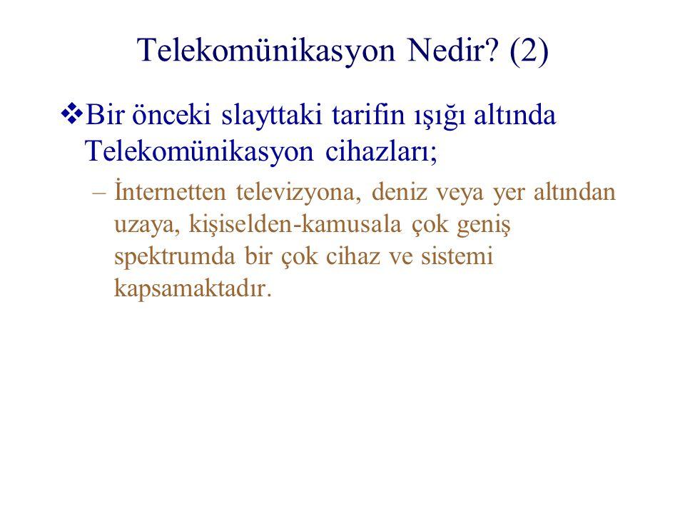 Telekomünikasyon Nedir? (2)  Bir önceki slayttaki tarifin ışığı altında Telekomünikasyon cihazları; –İnternetten televizyona, deniz veya yer altından