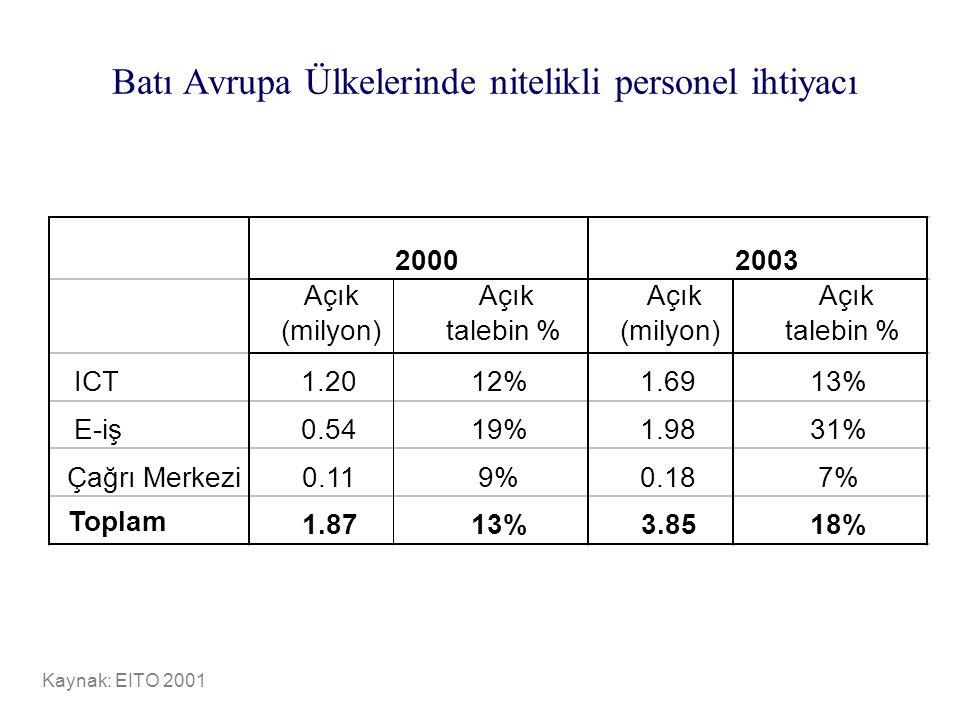 Batı Avrupa Ülkelerinde nitelikli personel ihtiyacı Kaynak: EITO 2001 Açık (milyon) Açık talebin % Açık (milyon) Açık talebin % ICT1.2012%1.6913% E-iş