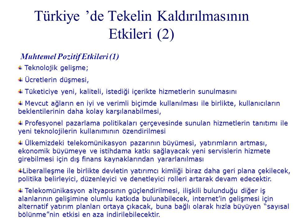Türkiye 'de Tekelin Kaldırılmasının Etkileri (2) Muhtemel Pozitif Etkileri (1) Teknolojik gelişme; Teknolojik gelişme; Ücretlerin düşmesi, Ücretlerin