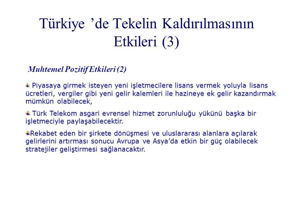 Türkiye 'de Tekelin Kaldırılmasının Etkileri (3) Muhtemel Pozitif Etkileri (2) Piyasaya girmek isteyen yeni işletmecilere lisans vermek yoluyla lisans