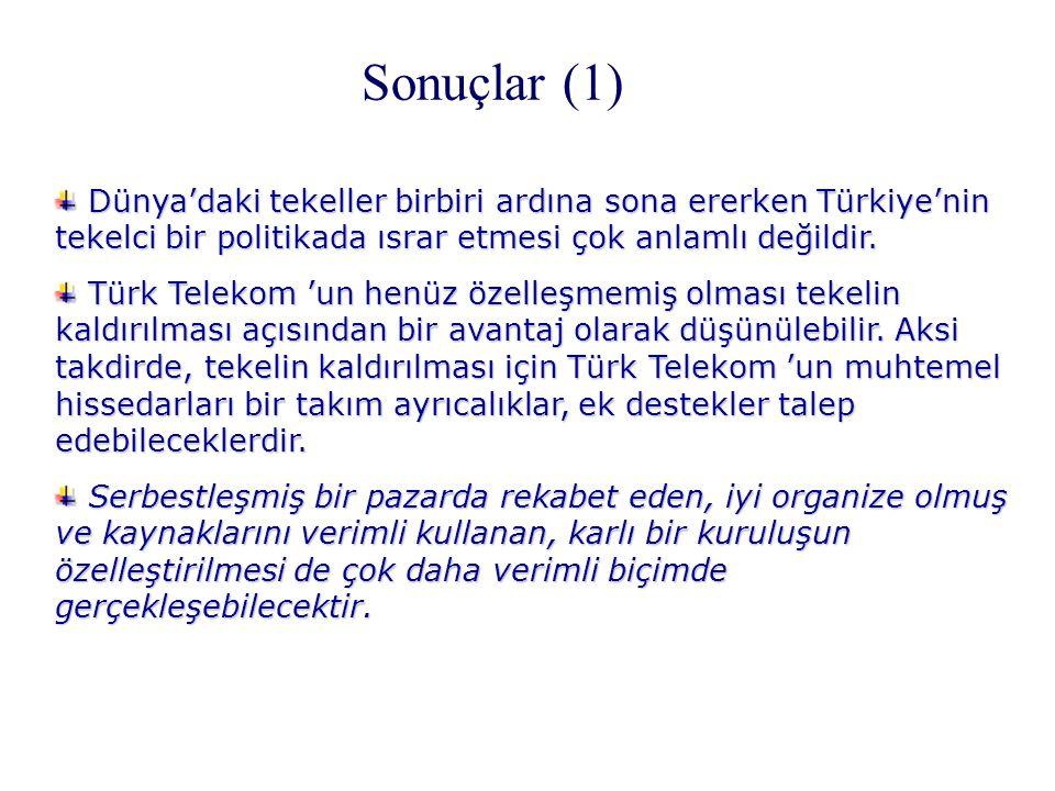 Sonuçlar (1) Dünya'daki tekeller birbiri ardına sona ererken Türkiye'nin tekelci bir politikada ısrar etmesi çok anlamlı değildir. Dünya'daki tekeller