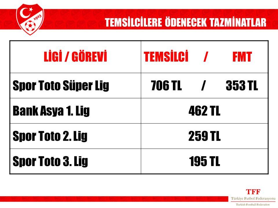 LİGİ / GÖREVİTEMSİLCİ / FMT Spor Toto Süper Lig706 TL / 353 TL Bank Asya 1. Lig462 TL Spor Toto 2. Lig259 TL Spor Toto 3. Lig195 TL TEMSİLCİLERE ÖDENE