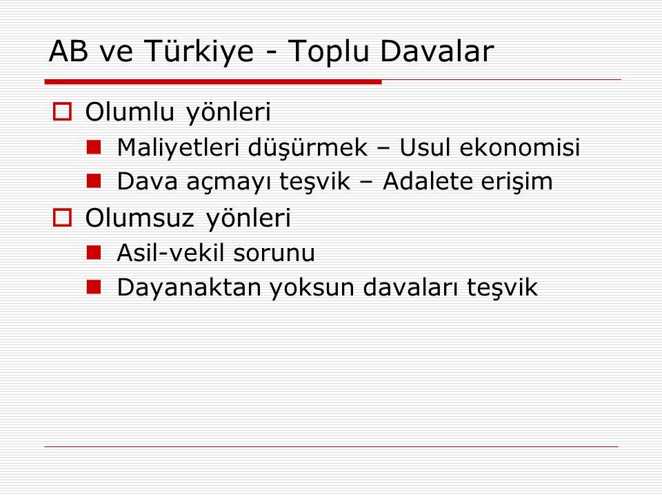 AB ve Türkiye - Toplu Davalar  Olumlu yönleri Maliyetleri düşürmek – Usul ekonomisi Dava açmayı teşvik – Adalete erişim  Olumsuz yönleri Asil-vekil