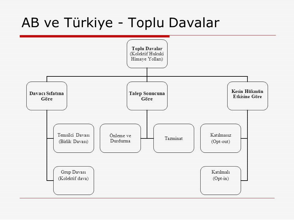 AB ve Türkiye - Toplu Davalar Toplu Davalar (Kolektif Hukuki Himaye Yolları) Davacı Sıfatına Göre Temsilci Davası (Birlik Davası) Grup Davası (Kolekti
