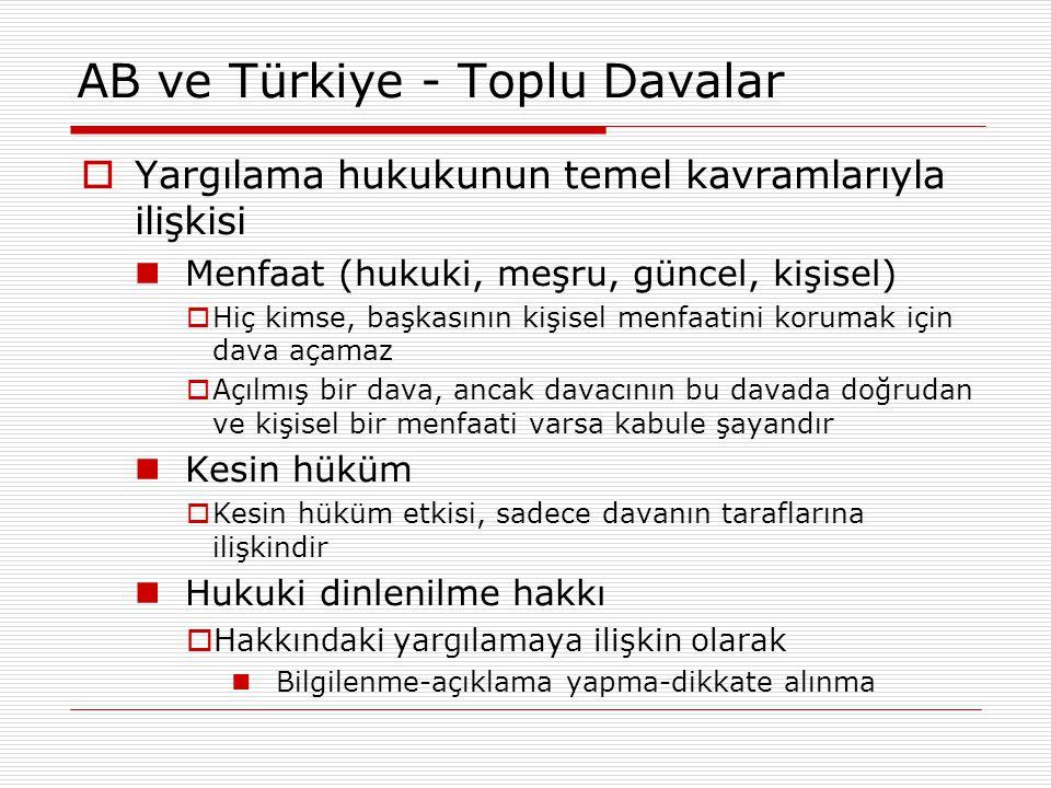 AB ve Türkiye - Toplu Davalar  Yargılama hukukunun temel kavramlarıyla ilişkisi Menfaat (hukuki, meşru, güncel, kişisel)  Hiç kimse, başkasının kişi
