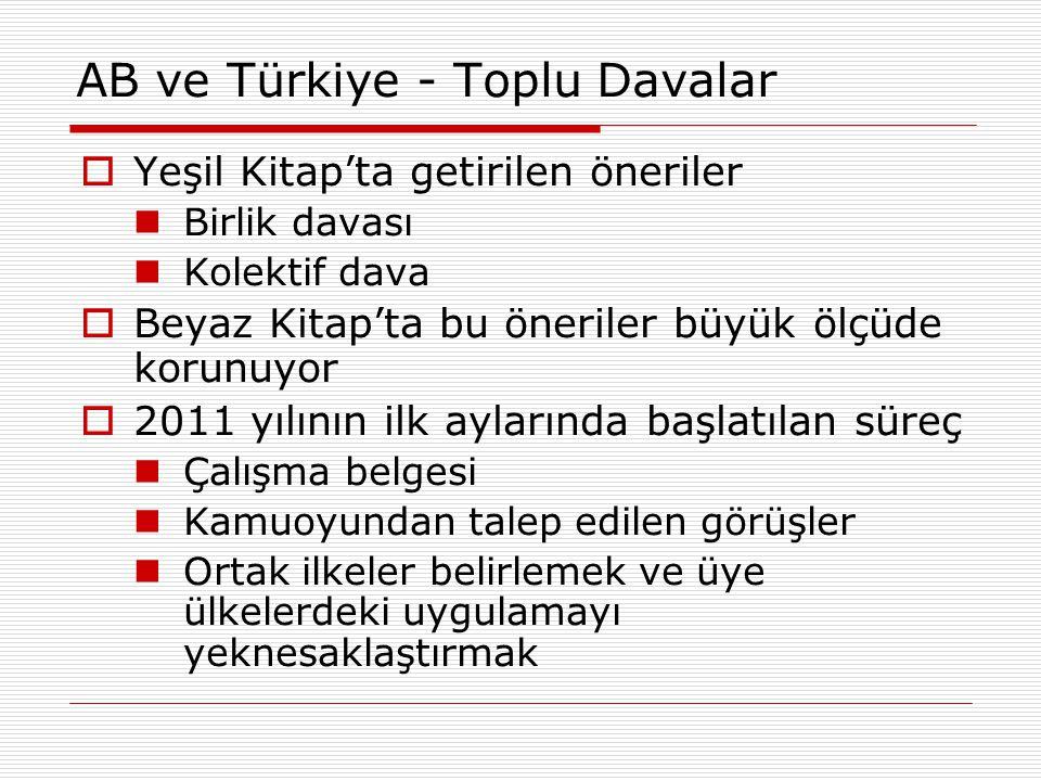 AB ve Türkiye - Toplu Davalar  Yeşil Kitap'ta getirilen öneriler Birlik davası Kolektif dava  Beyaz Kitap'ta bu öneriler büyük ölçüde korunuyor  20
