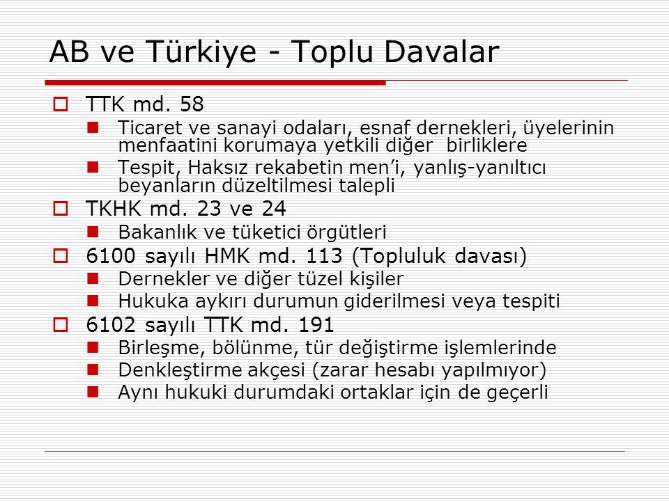 AB ve Türkiye - Toplu Davalar  TTK md. 58 Ticaret ve sanayi odaları, esnaf dernekleri, üyelerinin menfaatini korumaya yetkili diğer birliklere Tespit