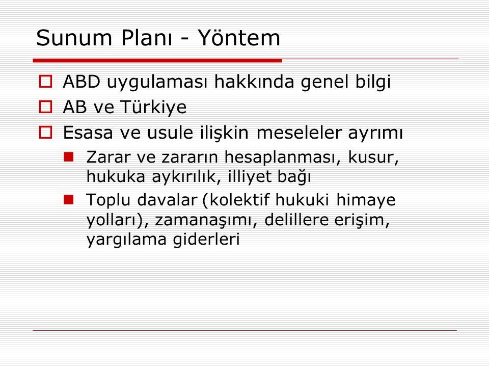 Sunum Planı - Yöntem  ABD uygulaması hakkında genel bilgi  AB ve Türkiye  Esasa ve usule ilişkin meseleler ayrımı Zarar ve zararın hesaplanması, ku