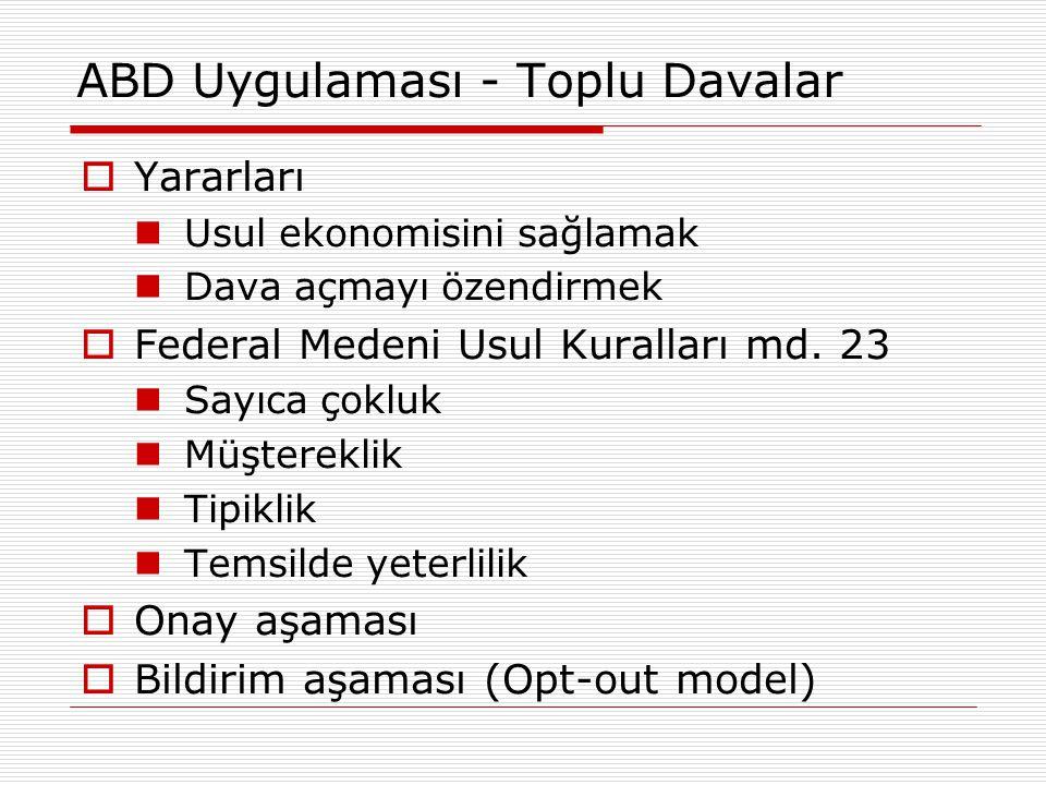 AB ve Türkiye - Toplu Davalar  TTK md.