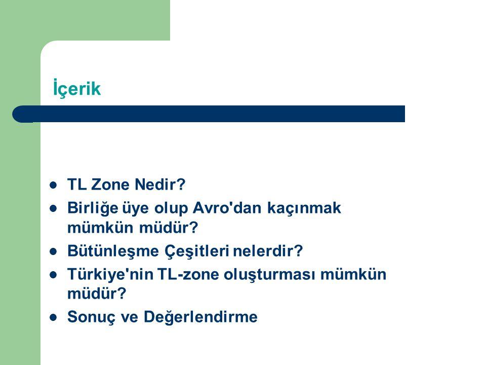 İçerik TL Zone Nedir? Birliğe üye olup Avro'dan kaçınmak mümkün müdür? Bütünleşme Çeşitleri nelerdir? Türkiye'nin TL-zone oluşturması mümkün müdür? So