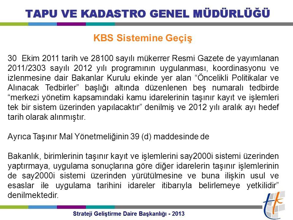 KBS Sistemine Geçiş 30 Ekim 2011 tarih ve 28100 sayılı mükerrer Resmi Gazete de yayımlanan 2011/2303 sayılı 2012 yılı programının uygulanması, koordin