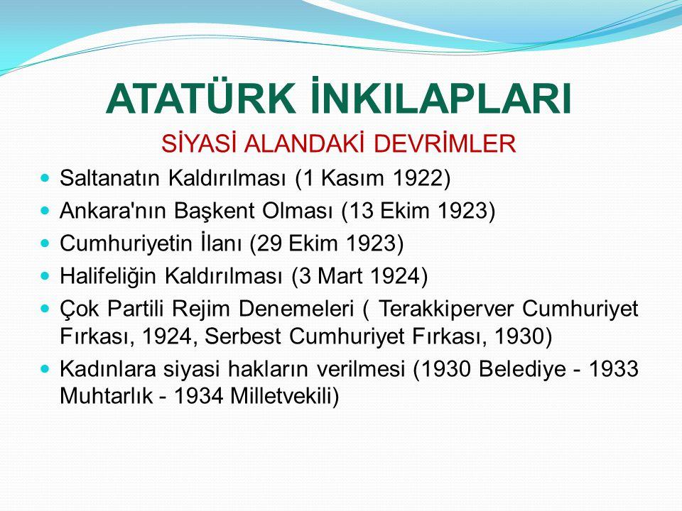 ATATÜRK İNKILAPLARI SİYASİ ALANDAKİ DEVRİMLER Saltanatın Kaldırılması (1 Kasım 1922) Ankara'nın Başkent Olması (13 Ekim 1923) Cumhuriyetin İlanı (29 E
