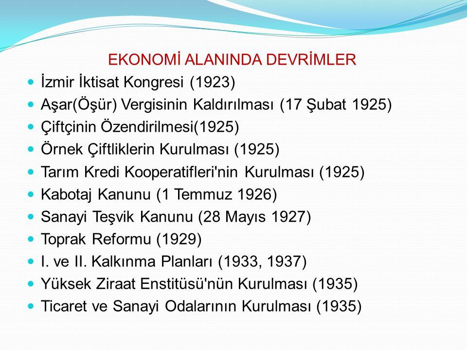 EKONOMİ ALANINDA DEVRİMLER İzmir İktisat Kongresi (1923) Aşar(Öşür) Vergisinin Kaldırılması (17 Şubat 1925) Çiftçinin Özendirilmesi(1925) Örnek Çiftli