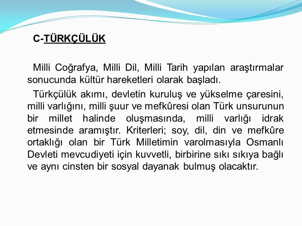 C-TÜRKÇÜLÜK Milli Coğrafya, Milli Dil, Milli Tarih yapılan araştırmalar sonucunda kültür hareketleri olarak başladı. Türkçülük akımı, devletin kuruluş