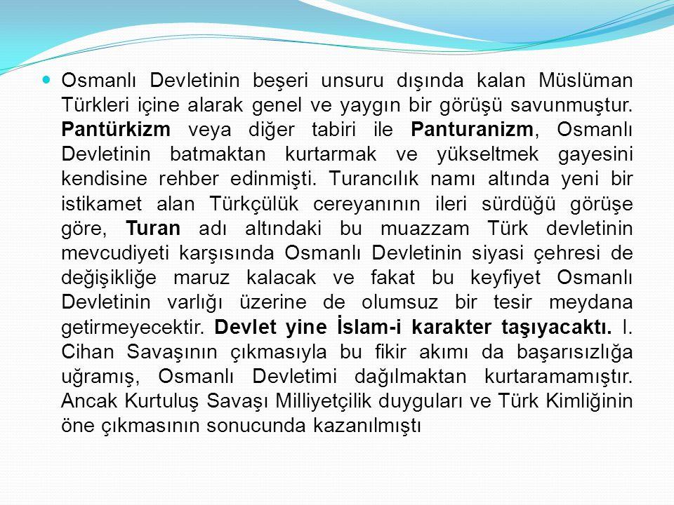 Osmanlı Devletinin beşeri unsuru dışında kalan Müslüman Türkleri içine alarak genel ve yaygın bir görüşü savunmuştur. Pantürkizm veya diğer tabiri ile