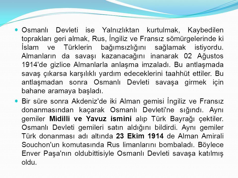 Osmanlı Devleti ise Yalnızlıktan kurtulmak, Kaybedilen toprakları geri almak, Rus, İngiliz ve Fransız sömürgelerinde ki İslam ve Türklerin bağımsızlığ