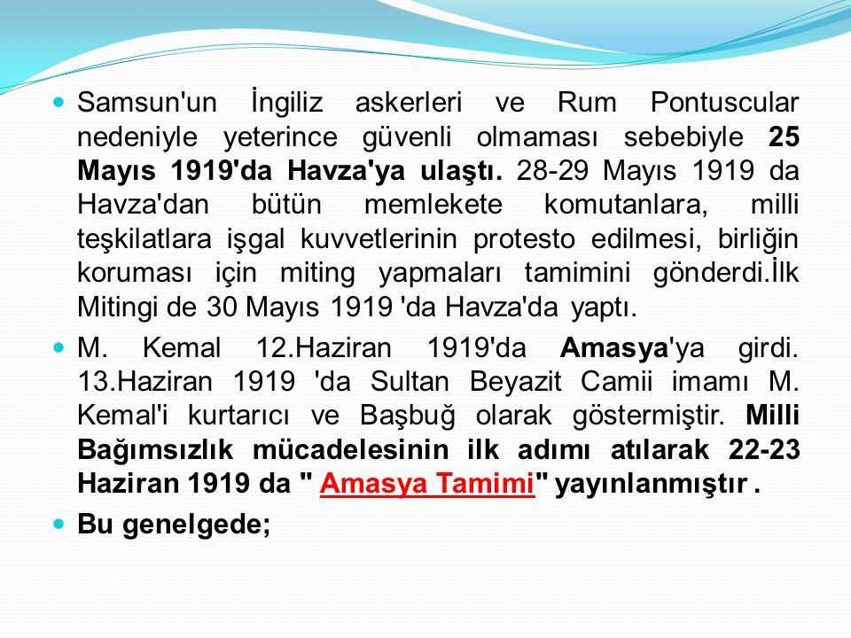 Samsun'un İngiliz askerleri ve Rum Pontuscular nedeniyle yeterince güvenli olmaması sebebiyle 25 Mayıs 1919'da Havza'ya ulaştı. 28-29 Mayıs 1919 da Ha