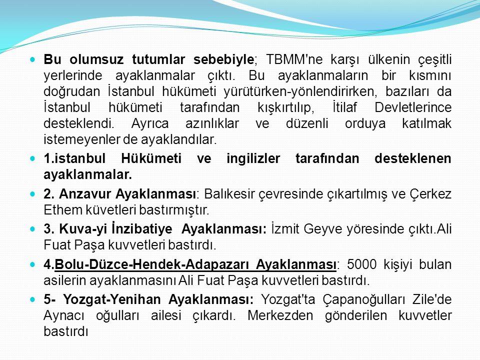 Bu olumsuz tutumlar sebebiyle; TBMM'ne karşı ülkenin çeşitli yerlerinde ayaklanmalar çıktı. Bu ayaklanmaların bir kısmını doğrudan İstanbul hükümeti y