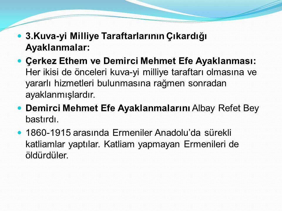 3.Kuva-yi Milliye Taraftarlarının Çıkardığı Ayaklanmalar: Çerkez Ethem ve Demirci Mehmet Efe Ayaklanması: Her ikisi de önceleri kuva-yi milliye taraft