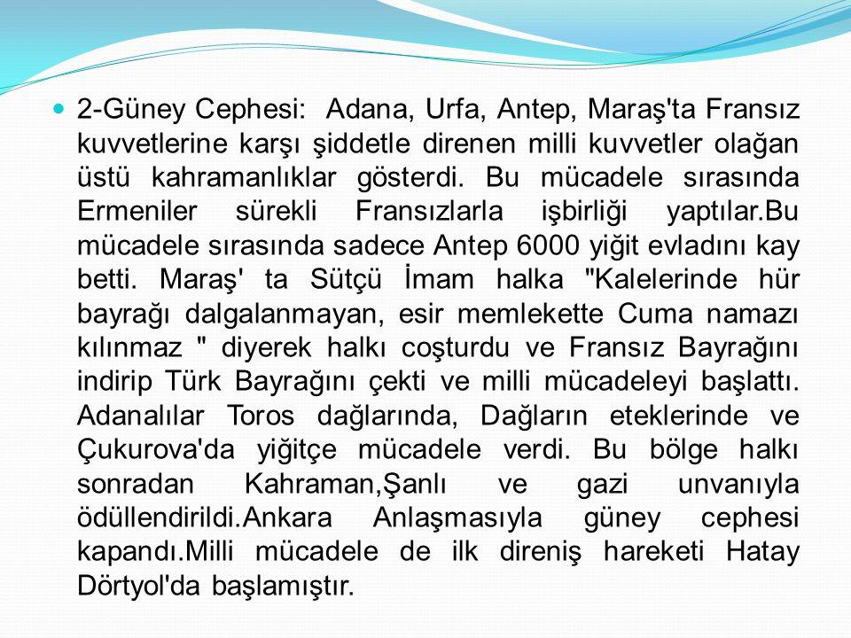 2-Güney Cephesi: Adana, Urfa, Antep, Maraş'ta Fransız kuvvetlerine karşı şiddetle direnen milli kuvvetler olağan üstü kahramanlıklar gösterdi. Bu müca
