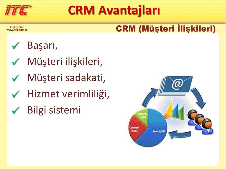 Başarı, Müşteri ilişkileri, Müşteri sadakati, Hizmet verimliliği, Bilgi sistemi CRM Avantajları