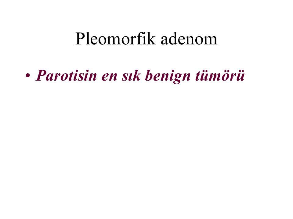 Pleomorfik adenom Parotisin en sık benign tümörü