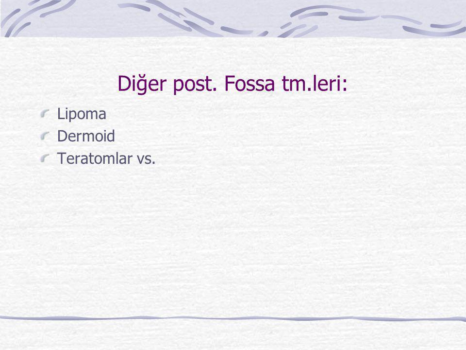 Diğer post. Fossa tm.leri: Lipoma Dermoid Teratomlar vs.