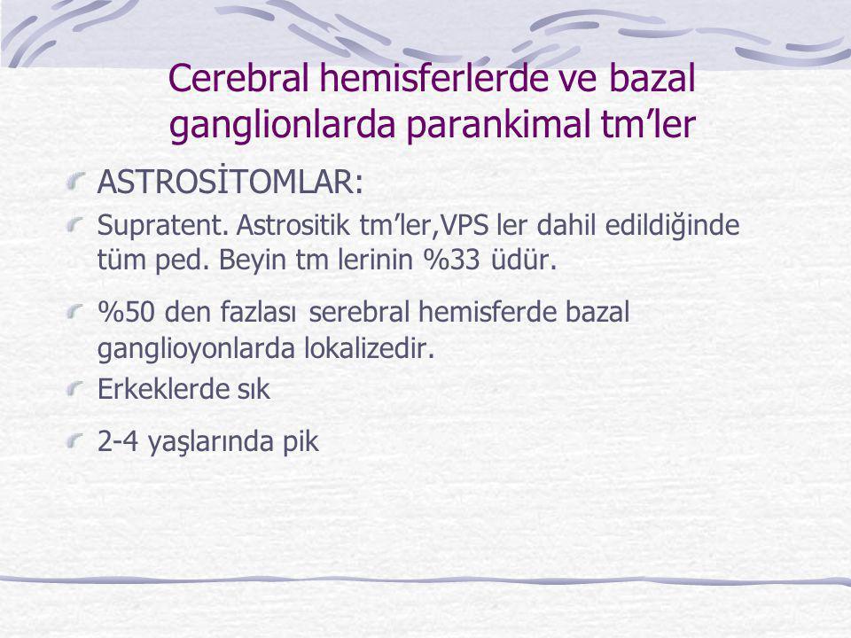 Cerebral hemisferlerde ve bazal ganglionlarda parankimal tm'ler ASTROSİTOMLAR: Supratent. Astrositik tm'ler,VPS ler dahil edildiğinde tüm ped. Beyin t