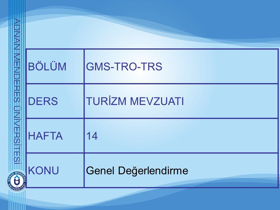BÖLÜMGMS-TRO-TRS DERSTURİZM MEVZUATI HAFTA14 KONUGenel Değerlendirme