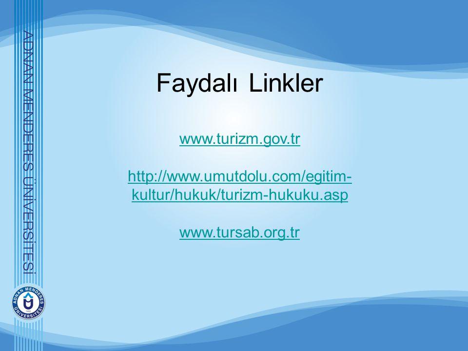 Faydalı Linkler www.turizm.gov.tr http://www.umutdolu.com/egitim- kultur/hukuk/turizm-hukuku.asp www.tursab.org.tr www.turizm.gov.tr http://www.umutdo