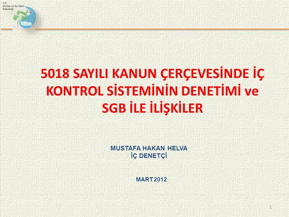 1 5018 SAYILI KANUN ÇERÇEVESİNDE İÇ KONTROL SİSTEMİNİN DENETİMİ ve SGB İLE İLİŞKİLER MUSTAFA HAKAN HELVA İÇ DENETÇİ MART 2012