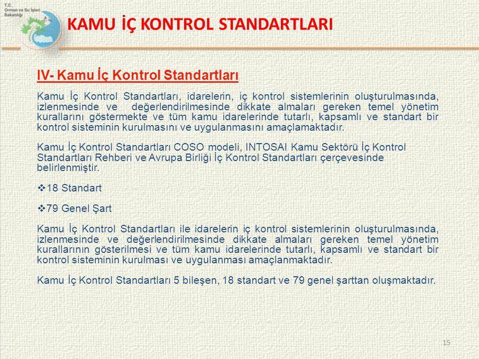 15 IV- Kamu İç Kontrol Standartları Kamu İç Kontrol Standartları, idarelerin, iç kontrol sistemlerinin oluşturulmasında, izlenmesinde ve değerlendiril