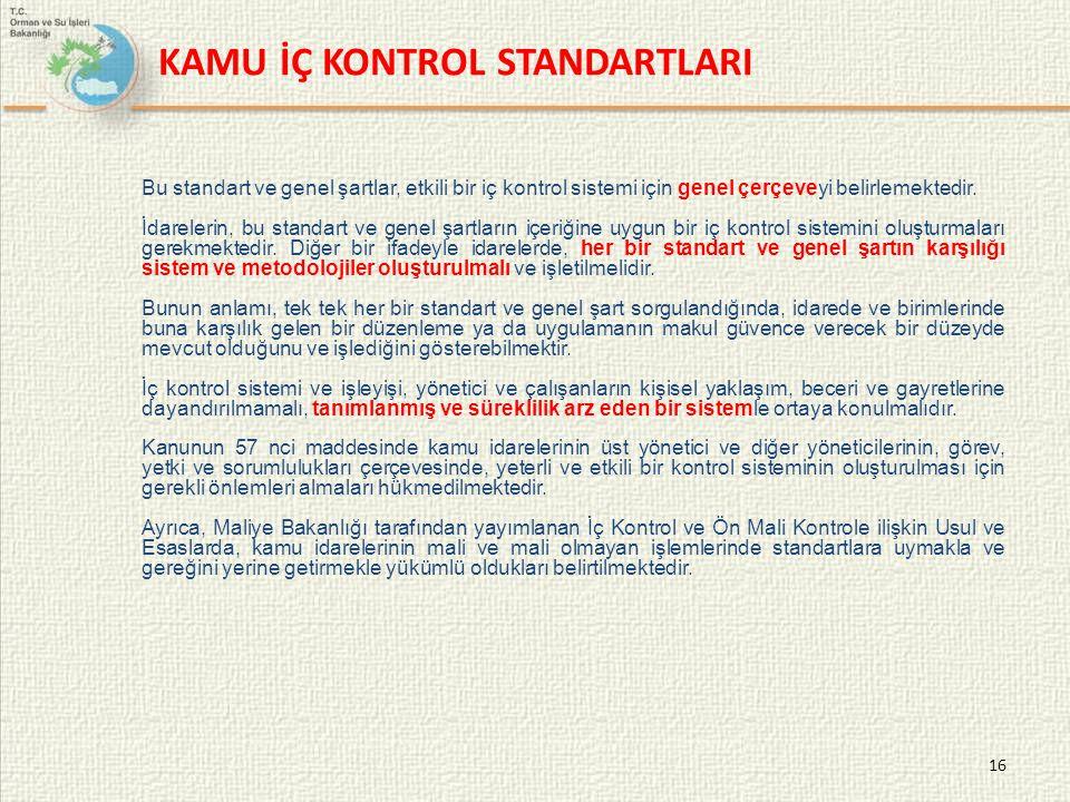 16 Bu standart ve genel şartlar, etkili bir iç kontrol sistemi için genel çerçeveyi belirlemektedir. İdarelerin, bu standart ve genel şartların içeriğ