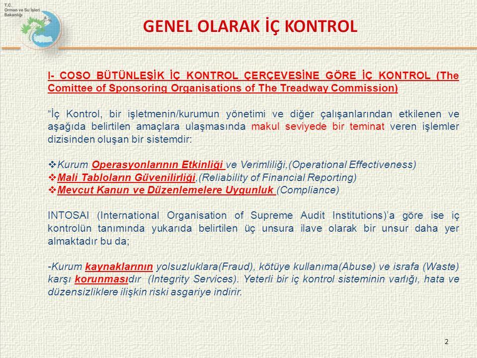 """2 I- COSO BÜTÜNLEŞİK İÇ KONTROL ÇERÇEVESİNE GÖRE İÇ KONTROL (The Comittee of Sponsoring Organisations of The Treadway Commission) """"İç Kontrol, bir işl"""