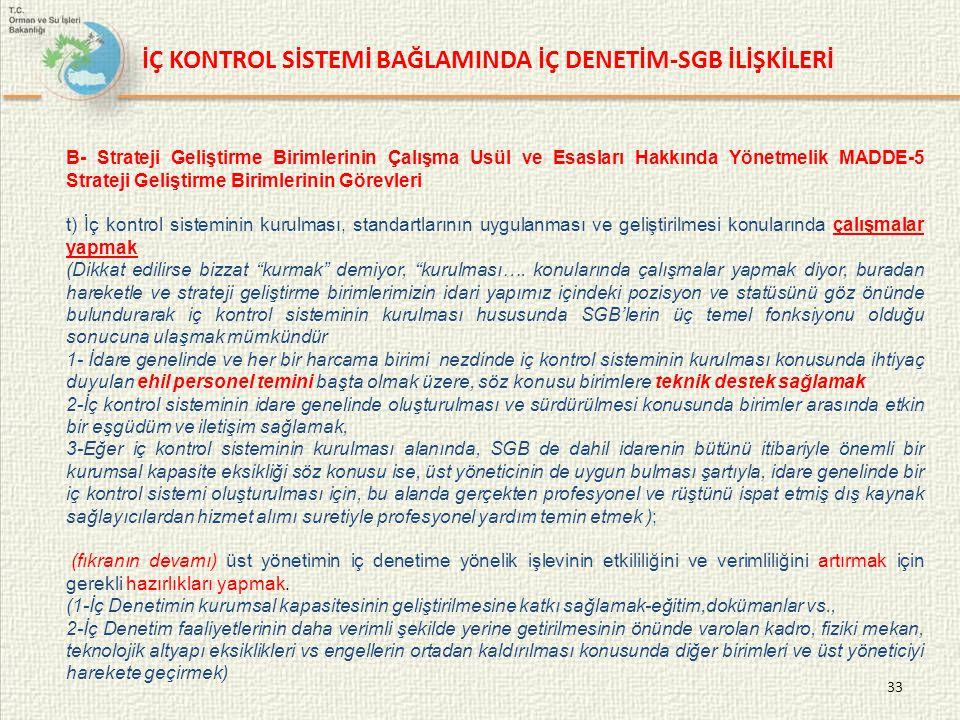 33 B- Strateji Geliştirme Birimlerinin Çalışma Usül ve Esasları Hakkında Yönetmelik MADDE-5 Strateji Geliştirme Birimlerinin Görevleri t) İç kontrol s