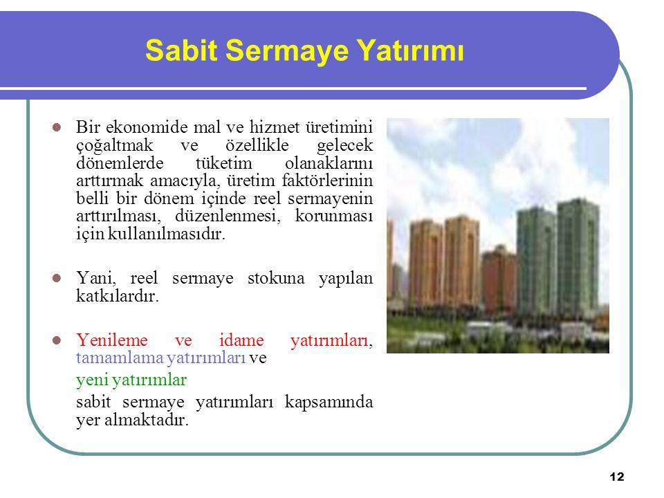 12 Sabit Sermaye Yatırımı Bir ekonomide mal ve hizmet üretimini çoğaltmak ve özellikle gelecek dönemlerde tüketim olanaklarını arttırmak amacıyla, üre