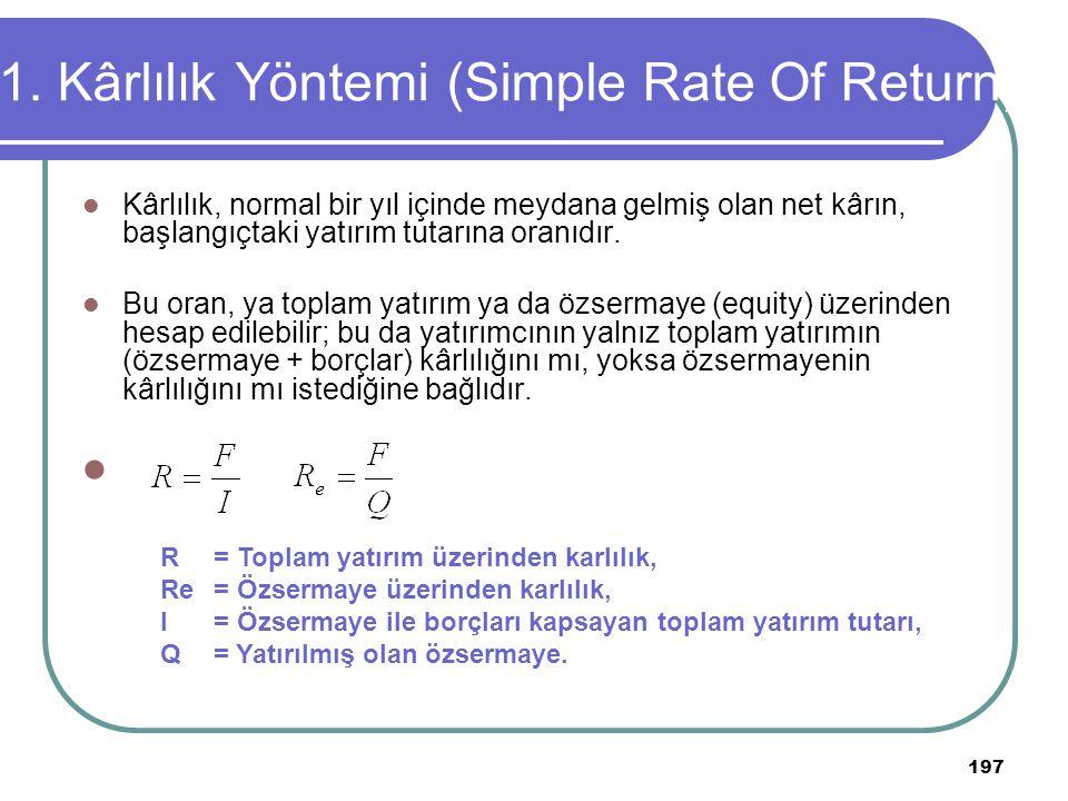 197 1. Kârlılık Yöntemi (Simple Rate Of Return) Kârlılık, normal bir yıl içinde meydana gelmiş olan net kârın, başlangıçtaki yatırım tutarına oranıdır