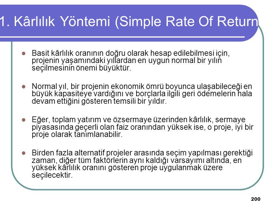 200 1. Kârlılık Yöntemi (Simple Rate Of Return Basit kârlılık oranının doğru olarak hesap edilebilmesi için, projenin yaşamındaki yıllardan en uygun n