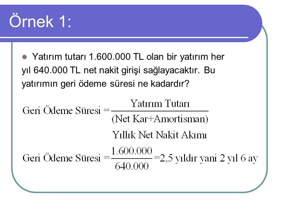 Örnek 1: Yatırım tutarı 1.600.000 TL olan bir yatırım her yıl 640.000 TL net nakit girişi sağlayacaktır. Bu yatırımın geri ödeme süresi ne kadardır?