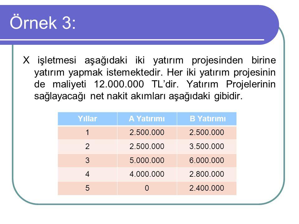 Örnek 3: X işletmesi aşağıdaki iki yatırım projesinden birine yatırım yapmak istemektedir. Her iki yatırım projesinin de maliyeti 12.000.000 TL'dir. Y